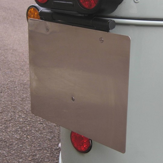 Backing panel for rear number plate - stainless steel