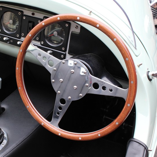 Polished alloy steering wheel centre plate with 12 holes for Moto-Lita...