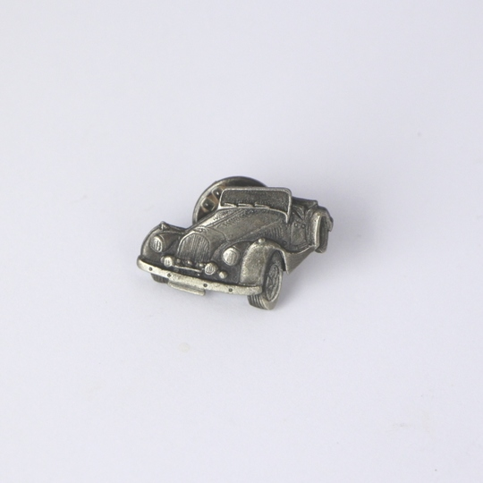 Pewter Morgan car tie-tac badge - 3/4 front view