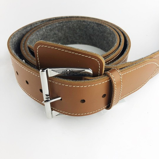 Bonnet strap - brown with felt backing and chrome buckle