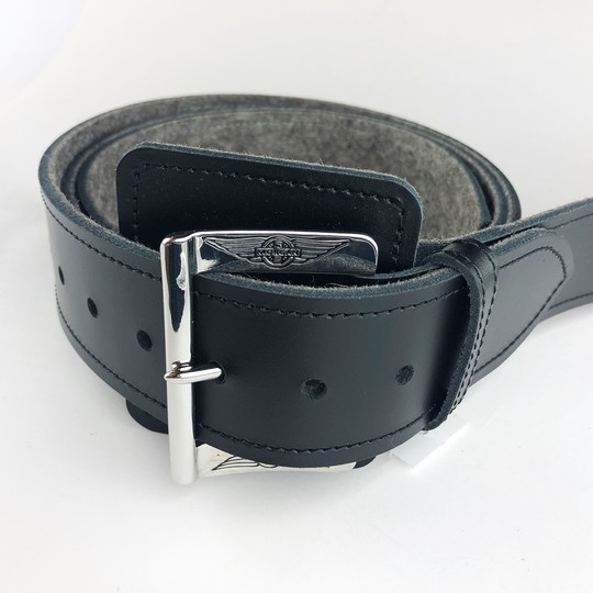 Bonnet strap - black with felt backing and chrome buckle