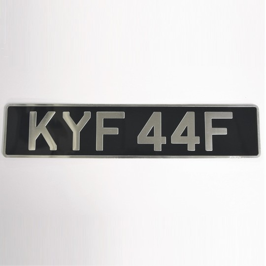 Single original pressed alloy number plate - oblong
