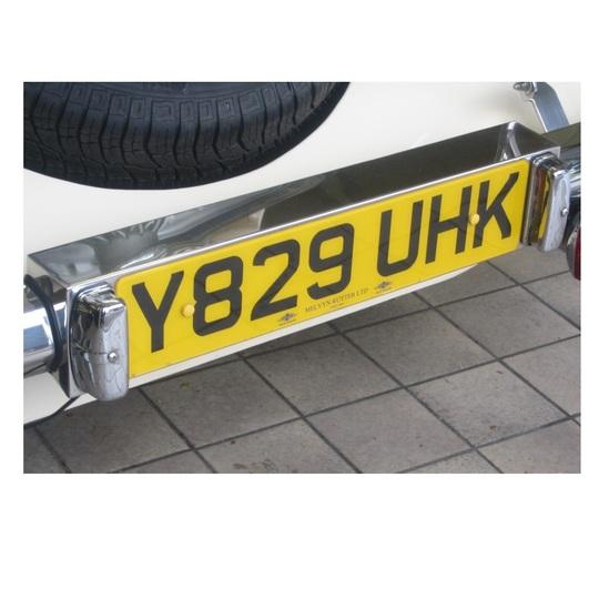 Stainless steel rear number plate box - for all cars 8/1997 on