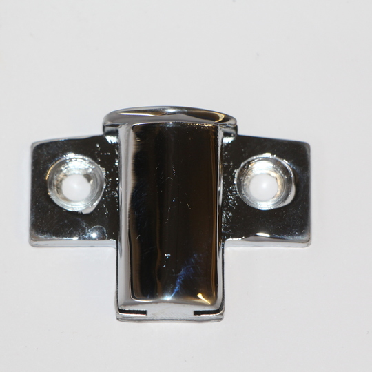 Bonnet hinge end bracket - chrome; rear