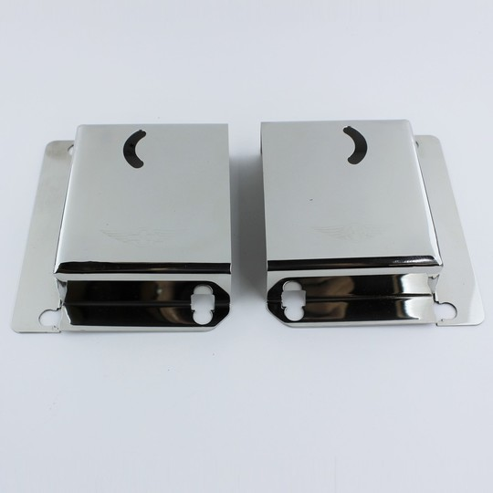 Door lock covers in stainless steel with new style Morgan wings