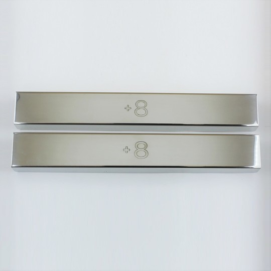 Polished stainless steel covers for front chassis cross member on +8 -...