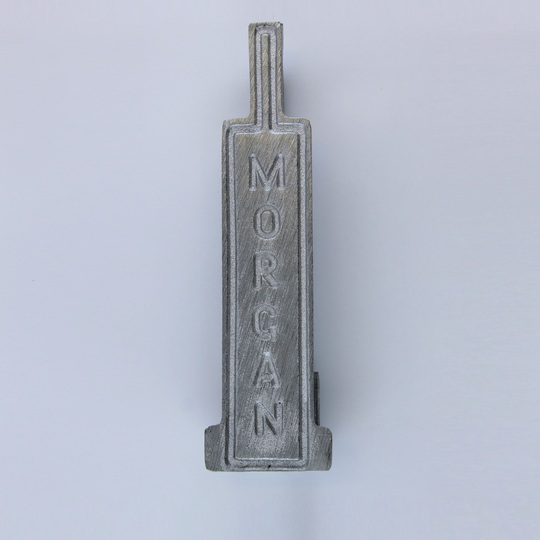 Cast aluminium throttle pedal, organ pedal type, with name 'Morgan' in casting