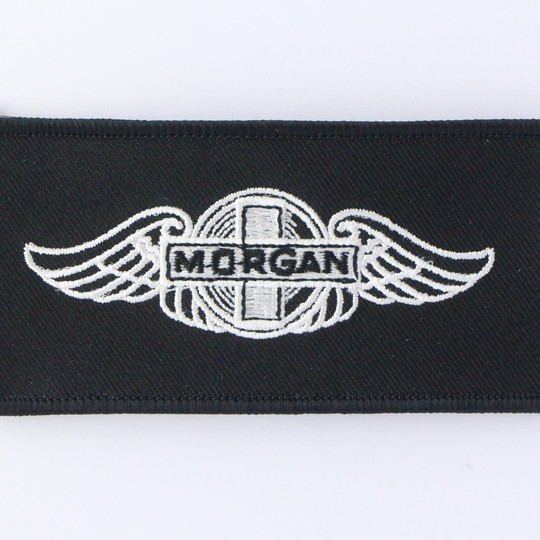 Embroidered Morgan wings badge (white on black)
