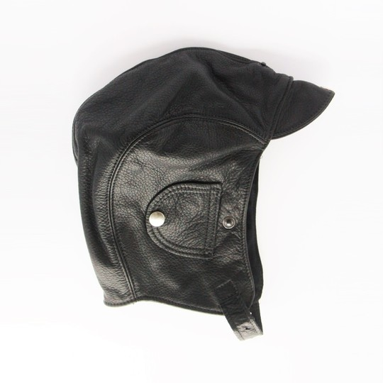 Leather flying helmet - black (large 58 to 61cm)