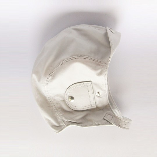 Leather flying helmet - white (large 58 to 61cm)