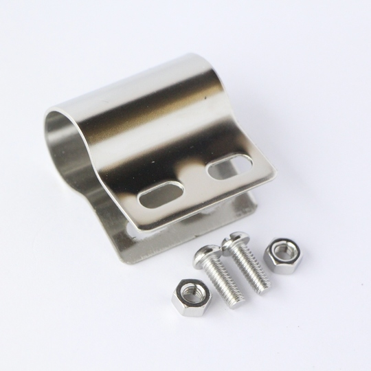 Badge clip for tubular badge bar (polished stainless steel)