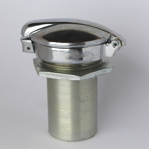 Round monza flip top fuel cap with pipe - chromed brass