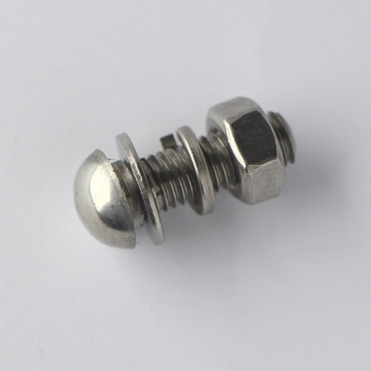 Polished stainless steel bumper bolt (with nut & washers)