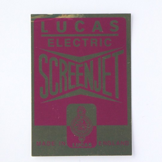 Lucas label for glass washer bottle