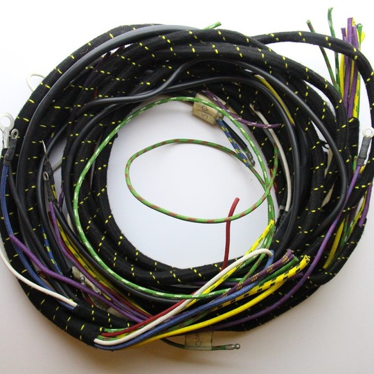 Wiring loom +4 with indicators 1950-53 - cloth wrapped lacquer braided cable
