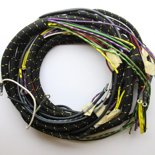 Wiring loom +4 1959-66 - cloth wrapped lacquer braided cable