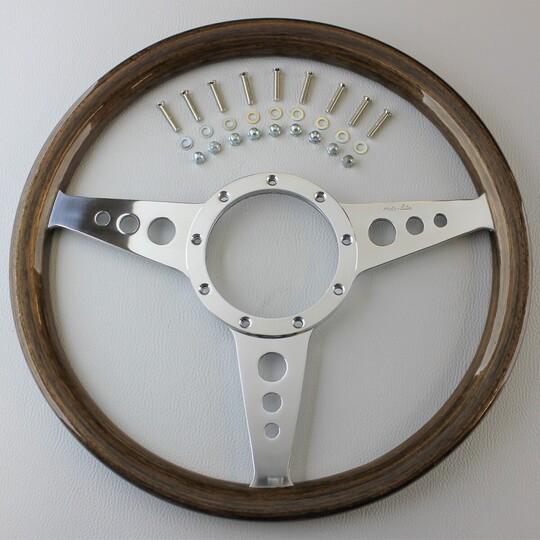"""Wood rim 3 spoke 14"""" wheel - walnut"""