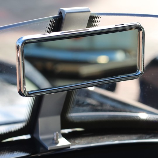 Rear view mirror and mounting kit for 'V' screen
