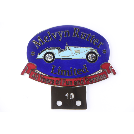 Melvyn Rutter 40th anniversary car badge