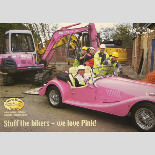 'Pink Lady' poster with builders