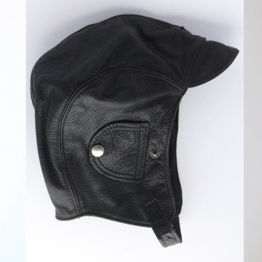 Leather flying helmet - black (extra large 61 to 64cm)