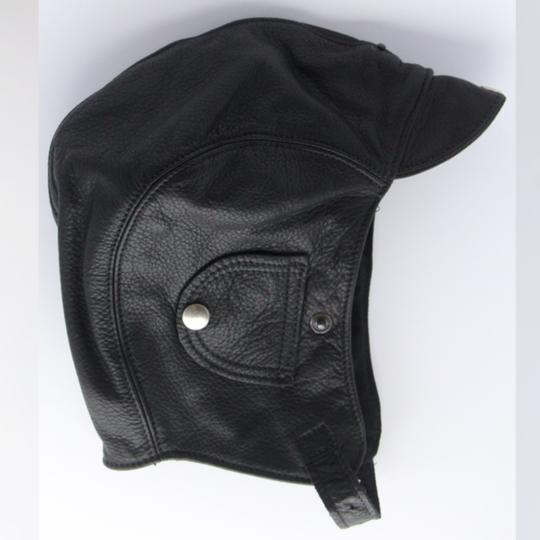 Leather flying helmet - black (large 58 to 61cm)