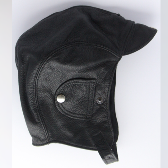 Leather flying helmet - black (small 51 to 53 cm)