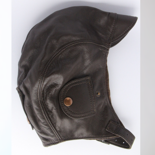 Leather flying helmet - brown (large 58 to 61 cm)