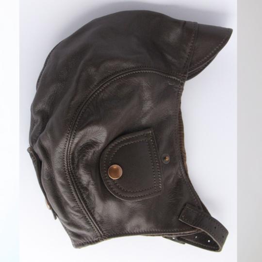Leather flying helmet - brown (medium 54 to 57 cm)
