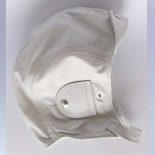 Leather flying helmet - white (medium 54 to 57 cm)