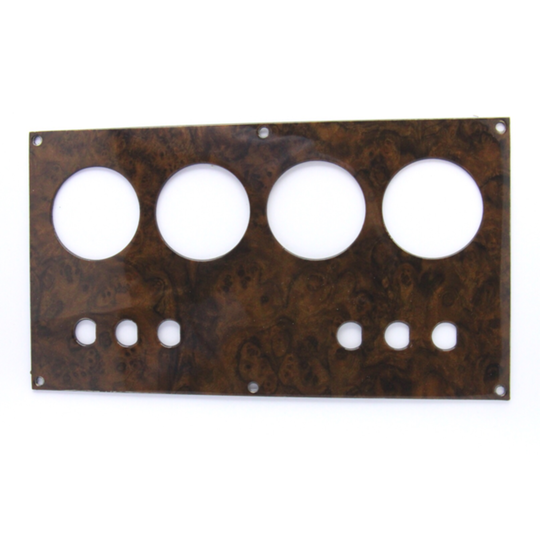 Switch panel 1976-6/97 veneered in burr walnut (for toggle not rocker switches)
