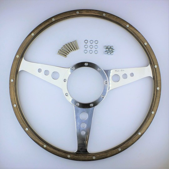 "Wood rim 3 spoke 15"" wheel"