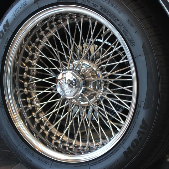 Polished stainless steel wire wheel for Roadster, 72 spoke, 16 x 7