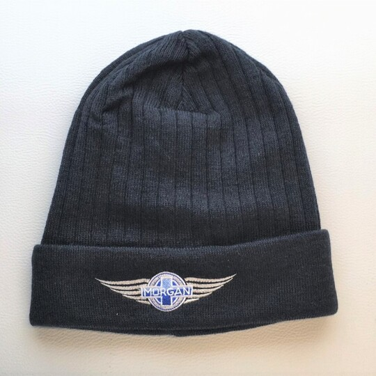 Beanie hat with Morgan wings logo - navy